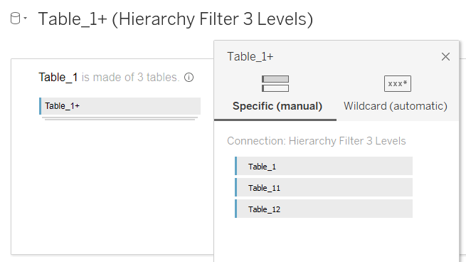 Table_l+ (Hierarchy Filter 3 Levels)  Table 1+  Table 1  is made of 3 tables. O  Table 1+  Specific (manual) Wildcard (automatic)  Connection: Hierarchy Filter 3 Levels  Table  Table  Table  11  12